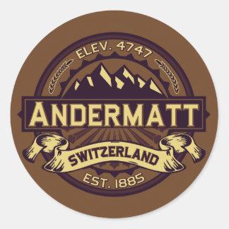 Andermatt Logo Sepia Classic Round Sticker