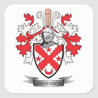 Anderson Family Crest Coat of Arms Square Sticker