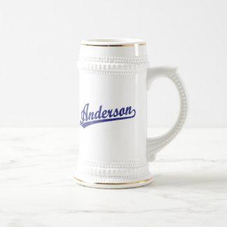 Anderson script logo in blue mugs