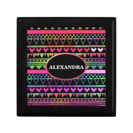 Andes Aztec Tribal Native Geometric Tie Die Neon Jewelry Boxes
