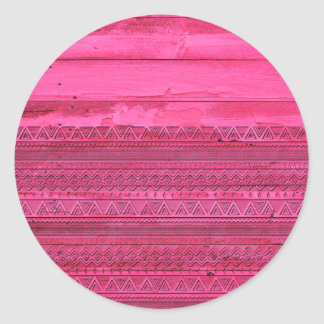 Andes Hot Pink Abstract Aztec Tribal Carved Wood Classic Round Sticker