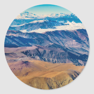 Andes Mountains Aerial View, Chile Classic Round Sticker
