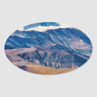 Andes Mountains Aerial View, Chile Oval Sticker