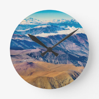 Andes Mountains Aerial View, Chile Round Clock