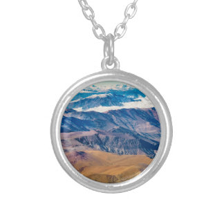 Andes Mountains Aerial View, Chile Silver Plated Necklace