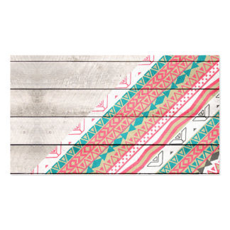 Andes Tribal Aztec Coral Teal Chevron Wood Pattern Business Card Template
