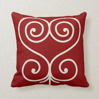 Andinkra Symbol Sankofa Heart Throw Pillow Red