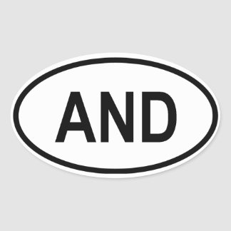 "Andorra ""AND"" Oval Sticker"