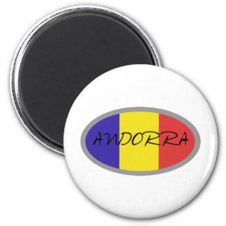 Andorra flag design! 6 cm round magnet