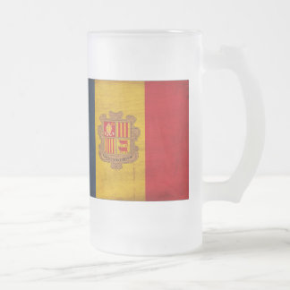 Andorra Flag Frosted Glass Beer Mug