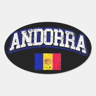 Andorra Flag Oval Sticker