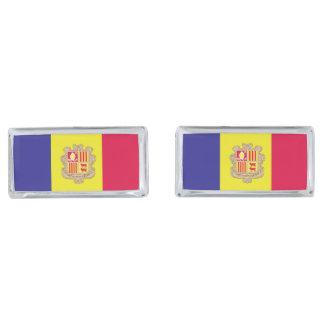Andorra Flag Silver Finish Cufflinks
