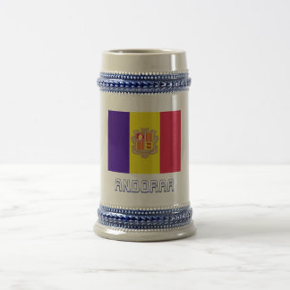 Andorra Flag with Name Beer Stein