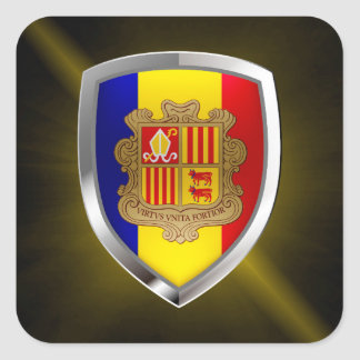 Andorra Metallic Emblem Square Sticker