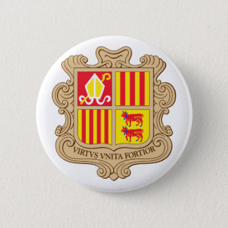 Andorra Official Coat Of Arms Heraldry Symbol 6 Cm Round Badge