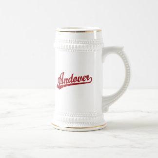 Andover script logo in red mugs