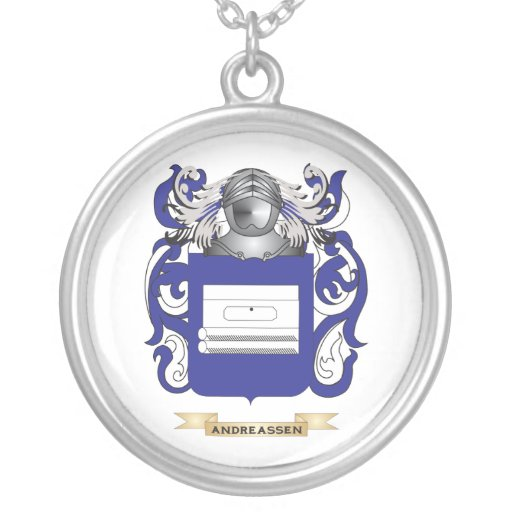 Andreassen Coat of Arms (Family Crest) Round Pendant Necklace