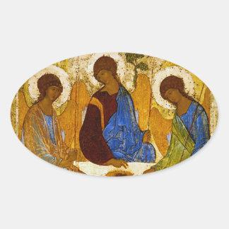 "Andrei Rublev, ""Holy Trinity"" Oval Sticker"