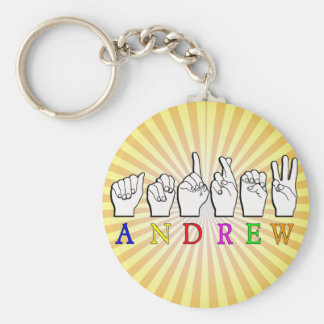 ANDREW  FINGERSPELLED ASL SIGN NAME FE MALE KEY RING