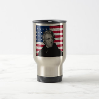 Andrew Jackson and The US Flag Stainless Steel Travel Mug