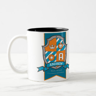 Andrew letter A crest orange name meaning mug