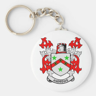 Andrews Family Crest Basic Round Button Key Ring