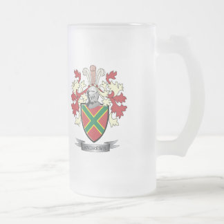 Andrews Family Crest Coat of Arms Frosted Glass Beer Mug