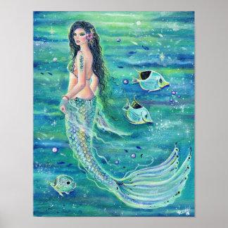 Andrina fantasy mermaid poster with angelfish