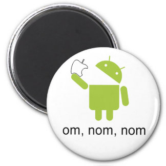 android > apple (round magnet) 6 cm round magnet