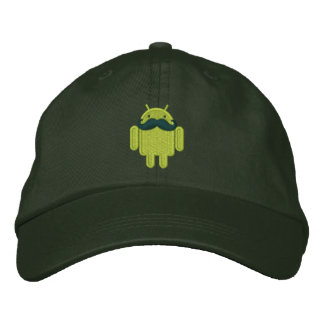 Android Robot Mustache Embroidery Embroidered Cap