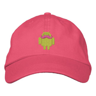 Android Robot Mustache Embroidery Embroidered Hats