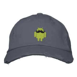 Android Robot Mustache Embroidery Embroidered Baseball Caps