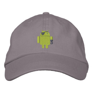 Android Robot Pirate Embroidery Embroidered Hat