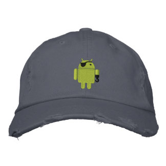 Android Robot Pirate Embroidery Embroidered Cap