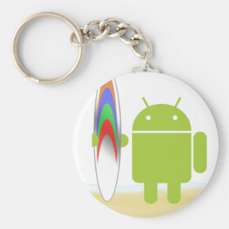 Android Surfer Basic Round Button Key Ring