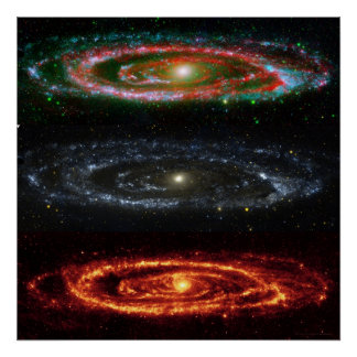Andromeda Galaxy in Red-Vis-UV 48x48 (35x35) Poster