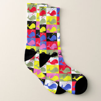 Andy Whale-Hole™ pattern_Lots o' colorful whales Socks