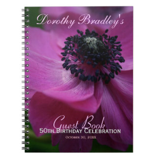 Anemone 50th Birthday Personalized Guest Book Notebook