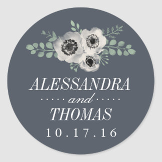 Anemone and Eucalyptus Wedding Classic Round Sticker