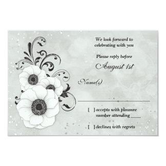 Anemone Black White Flower Wedding RSVP Reply 9 Cm X 13 Cm Invitation Card