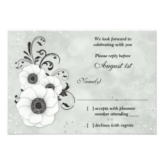 Anemone Black White Flower Wedding RSVP Reply Custom Announcements