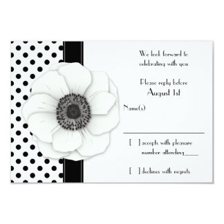 Anemone Black White Polka Dot Wedding RSVP reply Card
