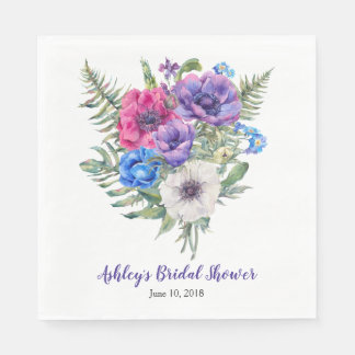 Anemone Bouquet Personalised Bridal Shower Disposable Napkin