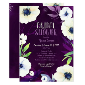 Anemone Dream Purple Bridal Shower Invitation