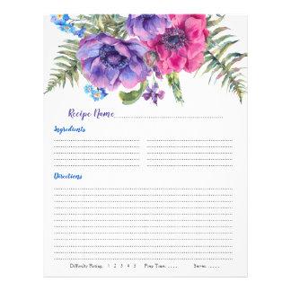Anemone Floral Binder Recipe Inserts Flyer