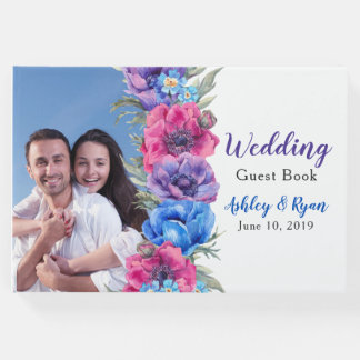 Anemone Floral Photo Wedding Guest Book