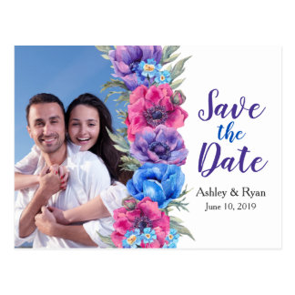 Anemone Floral Photo Wedding Save the Date Postcard