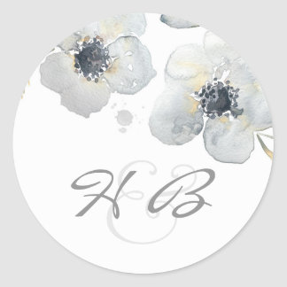 Anemone Floral Watercolor Vintage Wedding Classic Round Sticker