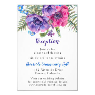 Anemone Floral Wedding Reception Insert Invitation