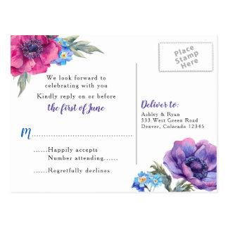 Anemone Floral Wedding RSVP Postcard